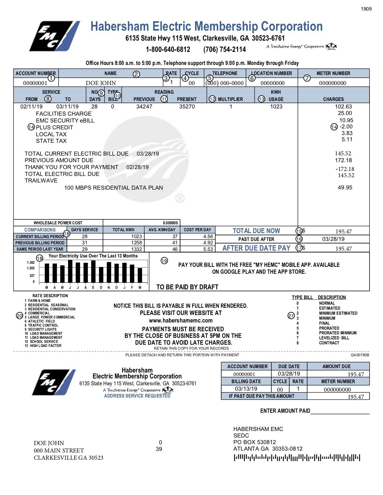 example bill document