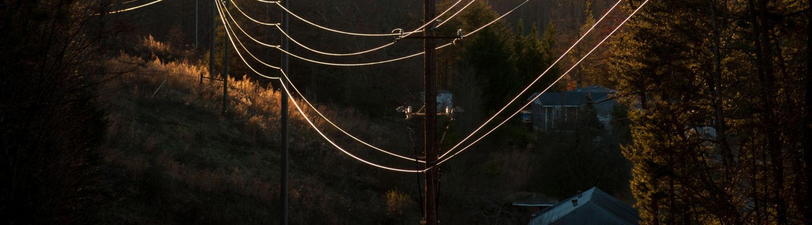Power Lines in Sun Heart