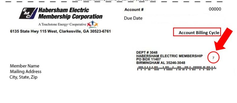 billing document showing a single digit to the right of the address for Habersham Electric Membership Corporation