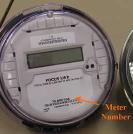 Annotated image pointing out meter number location on digital meter