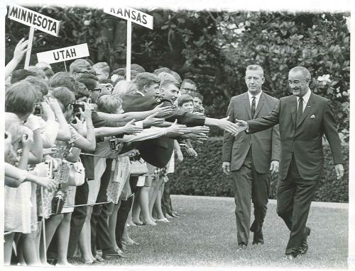 President Lyndon B. Johnson visiting with students from across the nation